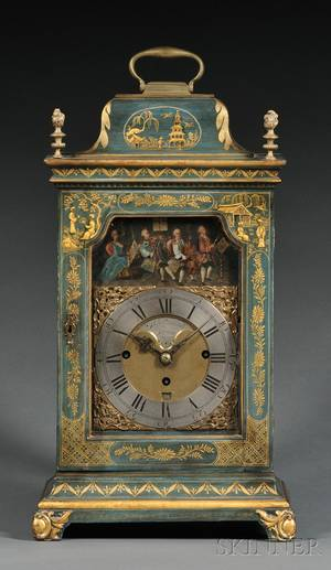 Japanned Musical Bracket Clock with Automata by Stephen Rimbault