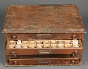Walnut Fivedrawer Columbus Crystal Cabinet
