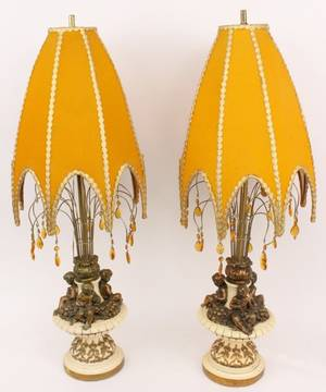 Pair of Lamps with Putto and Crystals Fuggito Studios