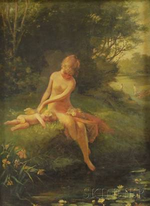 American School 19th Century NymphBather with Putto on a Stream Bank