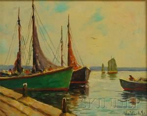 William Dudley Brunett Ward Jr American 18791935 Boats Beside a Wharf