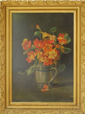 American School 19th Century Still Life of Nasturtiums in a Jug