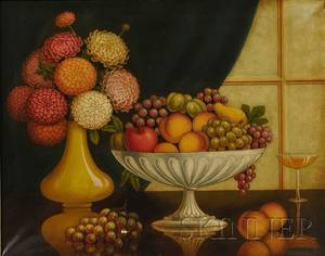 American School 20th Century Still Life with Fruit in a Compote and Vase of Zinnias
