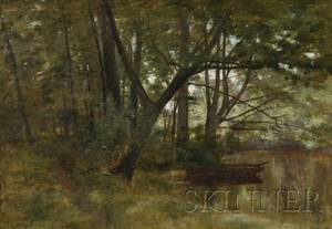 John Appleton Brown American 18441902 View of a Rowboat on a Wooded Lake Shore