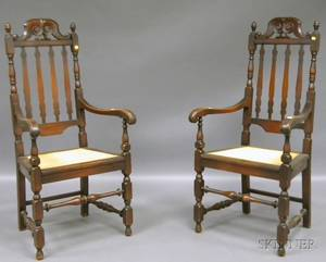 Pair of Paine Furniture Carved Maple Bannisterback Armchairs with Caned Seats