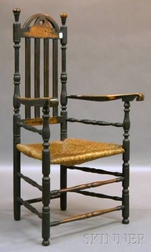 Blackpainted Wooden Bannisterback Chair with Scrolling Arms