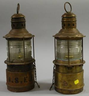Near Pair of Brass and Colorless Molded Ribbed Glass Marine Lanterns