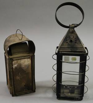 Blackpainted Tin and Glass Candle Lantern and a Tin and Mica Panel Whale Oil Lantern