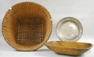 Large Woven Splint Open Basket a Wooden Chopping Bowl and an English Pewter Charger