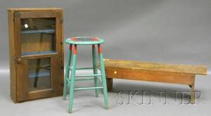 Country Pine and Glass Wall Cabinet a Pine Bucket Bench and a Paintdecorated Wooden Stool