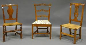 Three Country Chippendale and Queen Anne Maple and Tiger Maple Side Chairs
