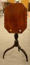 Federal Inlaid Mahogany Tilttop Walnut Candlestand