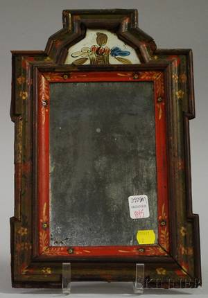 Polychrome Painted Wood and Reversepainted Glass Courting Mirror