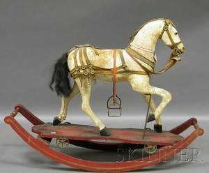 19th Century Hideclad Carved Wood RidingRocking Horse