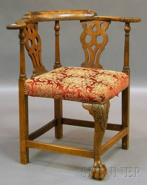 Chippendale Upholstered Carved Mahogany Corner Chair and a Federalstyle Upholstered Mahogany Barrelback Armchair