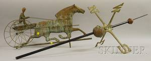 Patinated Molded Copper Horse with Sulky and Rider Weather Vane