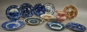 Eleven Pieces of Assorted Staffordshire Transferdecorated Tableware