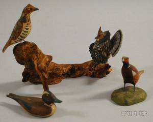 Three Miniature Carved and Painted Wooden Bird Figurals