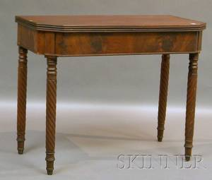 Classical Inlaid Mahogany and Mahogany Veneer Card Table with Cut Corners and Ropeturned Legs