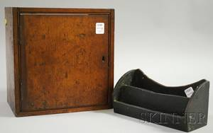 Blackpainted Wood Dovetailconstructed Letter Holder and a Small Mahogany Dovetailconstructed Ships Clock Wall Cabinet