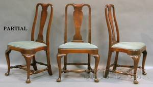 Set of Twelve Queen Annestyle Walnut Dining Chairs with Upholstered Slip Seats