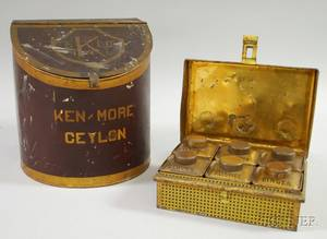Painted Tin KenMore Ceylon Tea Retail Counter Bin and a Family Spices Lithographed Tin Pantry Spice Box