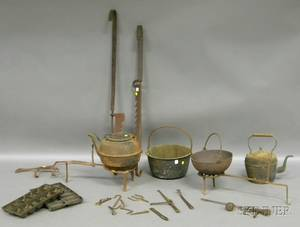 Large Lot of Assorted Wrought Iron Brass and Cast Iron Hearth and Cooking Items