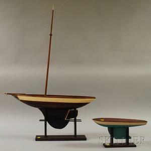 Painted Wood Sailboat Model and a Painted Wood and Metal Sailboat Model Hull