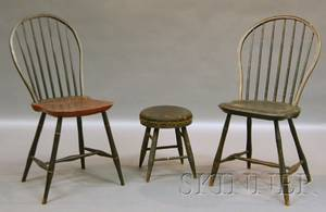 Two Painted Windsor Bowback Side Chairs and a Horsehairupholstered Blackpainted Windsor Stool