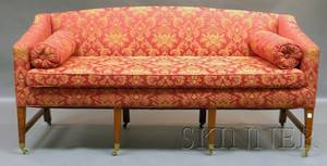 Country Chippendale Damaskupholstered Cherry Sofa
