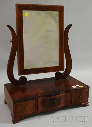 Georgianstyle Inlaid Mahogany Veneer Dressing Mirror on Serpentine Cabinet