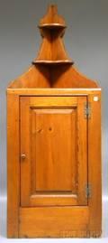 Pine Hanging Corner Cabinet with Paneled Door
