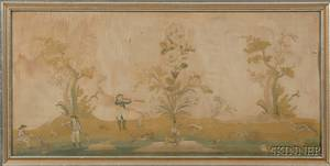 Framed English Needlework Picture of a Hunt Scene