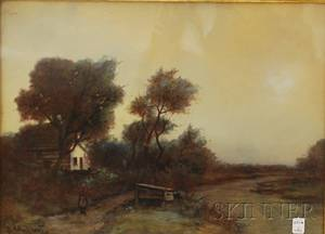 Continental School 19th Century River Landscape with House and Figure