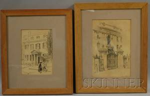 Lot of Two Framed Pencil Drawings of Architectural Views by Helen Mason Grose American b 1880 Entrance with Ornate Gate