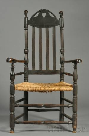 Blackpainted Bannisterback Chair with Carved Scrolling Arms and Woven Rush Seat
