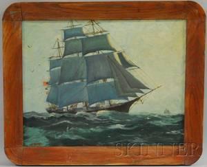 20th Century American School Oil on Panel Portrait of a Threemasted Clipper Ship