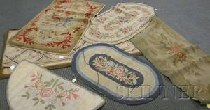 Seven Floral Pattern Hooked Rugs