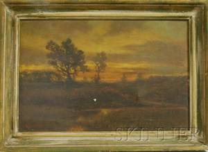 American School 19th Century Landscape with Figures on a Path at Dusk