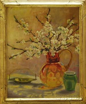 American School 20th Century Still Life of Apple Blossom Branches in an Amberina Thumbprint Pitcher