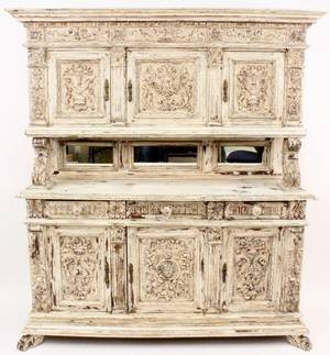 Distressed White Painted Court Cabinet