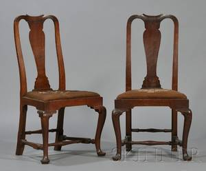 Near Pair of Queen Anne Walnut Side Chairs