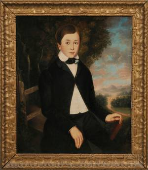 American School 19th Century Portrait of a Boy in a Landscape Holding a Book