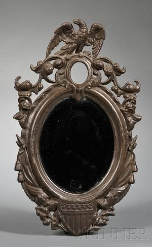 Patriotic Cast Iron Oval Mirror