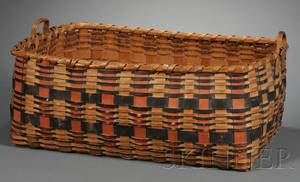 Painted Woven Splint Native American Basket