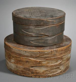 Two Painted Round Covered Pantry Boxes