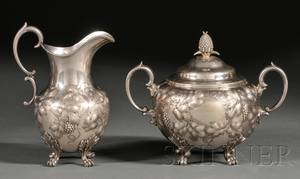Coin Silver Creamer and Covered Sugar Bowl