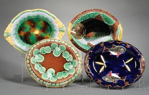 Four Oval Majolica Serving Dishes
