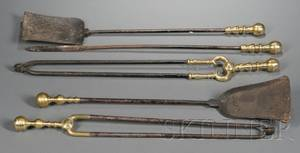 Two Sets of Brass and Iron Fire Tools