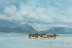 American School 20th Century Horses in a Winter Mountain Landscape